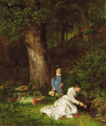 Fine Art - Painting, American:Antique  (Pre 1900), JAMES BRADE SWORD (American, 1839-1915). The Picnic. Oil oncanvas. 20 x 24-1/4 inches (50.8 x 61.6 cm). Signed lower le...