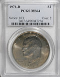 Eisenhower Dollars: , 1971-D $1 MS64 PCGS. PCGS Population (1135/2642). NGC Census: (226/1639). Mintage: 68,587,424. Numismedia Wsl. Price for NG...