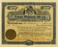 Miscellaneous:Ephemera, Texas Western Oil Company $100 Stock Certificate 1901....