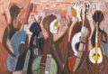 Fine Art - Painting, American:Contemporary   (1950 to present)  , WILLIAM LEWIS LESTER (American, 1910-1991). Musicians, 1959.Oil on linen. 30 x 44 inches (76.2 x 111.8 cm). Signed, dat...