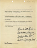 Autographs:Others, Bill McGowan Signed Document. Longtime and colorful American Leagueumpire William McGowan presided over games from 1925 to...