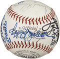 Autographs:Baseballs, Baseball Stars Multi-Signed Baseball Mantel& DiMaggio. This isa super clean and white ONL (Giles) baseball that is burstin...