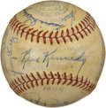 Autographs:Baseballs, 1949 St. Louis Browns Signed Baseball. Twenty-five signatures gracethis OAL (Harridge) baseball. Highlights include Manage...