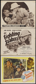 "Movie Posters:War, The Fighting Seabees (Republic, R-1948 & R-1954). Title Cardand Lobby Cards (2) (11"" X 14""). War.... (Total: 3 Items)"