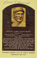 "Autographs:Post Cards, Circa 1972 Dave Bancroft Signed Gold Hall of Fame Plaque. ""Beauty"" Bancroft's death just a year after his 1971 Hall of Fame..."