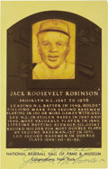 Autographs:Post Cards, Circa 1970 Jackie Robinson Signed Gold Hall of Fame Plaque. Thefirst black player in Cooperstown bronze, the great Jackie ...