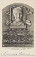 "Autographs:Post Cards, 1950's Roderick ""Bobby"" Wallace Twice Signed Black & White Hall of Fame Plaque. To the best of our knowledge, we present he..."