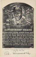 Autographs:Post Cards, Circa 1955 Al Simmons Signed Black & White Hall of Fame Plaque. With six home runs in just seventy-three World Series at ba...
