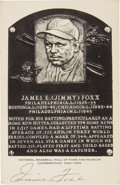 Autographs:Post Cards, Early 1950's Jimmie Foxx Signed Black & White Hall of Fame Plaque. The second man to gain entry into Babe Ruth's 500 Home R...