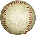 Autographs:Baseballs, 1930's Multi-Signed Baseball with Lazzeri, Joe DiMaggio. UPDATE:Please note we have learned that this ball reflects the ...