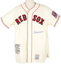 Autographs:Jerseys, 1990's Ted Williams Signed Jersey. Top quality limited edition replica of The Kid's rookie Red Sox gamer is blessed with a ...