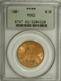 Liberty Eagles: , 1901 $10 MS62 PCGS. PCGS Population (4556/4782). NGC Census: (6428/7760). Mintage: 1,718,825. Numismedia Wsl. Price for NGC...