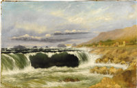 Attributed to NORTON BUSH (American, 1834-1894) Crashing Waves at the Shore Oil on canvas 16-3/4