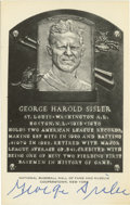 Autographs:Post Cards, George Sisler Signed Hall of Fame Plaque. Sisler held the recordfor the most hits in a season for 84 years until Ichiro Su...