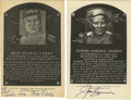 Autographs:Post Cards, Joe Cronin and Max Carey Signed Hall of Fame Plaques Lot of 2.Among his many Hall of Fame accomplishments Joe Cronin was n...