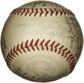 Autographs:Baseballs, 1950 Philadelphia Athletics Team Signed Baseball. Twenty-fivesignatures from the 1950 Philadelphia A's team adorn the OAL ...