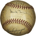 Autographs:Baseballs, 1939 Detroit Tigers Team Signed Baseball. The OAL (Harridge) baseball is the repository of signatures of the 1939 Detroit T...
