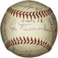Autographs:Baseballs, 1953 New York Giants Team Signed Baseball. Twenty-four members ofthe 1953 New York Giants team added their signatures to t...