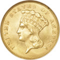 Three Dollar Gold Pieces, 1866 $3 MS63 NGC....