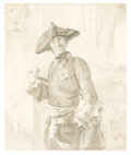 Fine Art - Painting, European:Antique  (Pre 1900), In the style of ADOLF VON MENZEL (Polish/German, 1815-1905). The Proud Officer. Pencil on paper. 9-3/4 x 8-1/4 inches (2...