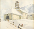Fine Art - Painting, European:Modern  (1900 1949)  , Attributed to ARCAGELO SALVARANI (Italian, b. 1882). Church inthe Snow. Watercolor on paper. 16-1/2 x 19-1/2 inches (41...