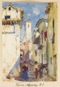 Fine Art - Painting, European:Modern  (1900 1949)  , GEORGE OWEN WYNNE APPERLEY (British, 1884-1960). A Street Scene:Granada. Watercolor on paper. 5 x 3-1/2 inches (12.7 x ...