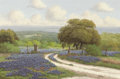 Fine Art - Painting, American:Contemporary   (1950 to present)  , C.P. MONTAGUE (American, Late 20th Century). Field ofBluebonnets. Oil on canvas. 24 x 36 inches (61.0 x 91.4 cm).Signe...