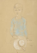 Fine Art - Painting, European:Modern  (1900 1949)  , PERE PRUNA OCERANS (Spanish, 1904-1977). Portrait of Child with White Hat, 1927. Pencil and pastel on paper. 13-3/4 x 10...