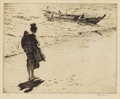 Fine Art - Painting, American:Modern  (1900 1949)  , MARTIN LEWIS (American, 1881-1962). Returning from Sea.Drypoint etching on wove paper. 8 x 10 inches plate (20.3 x 25.4...