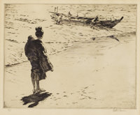 MARTIN LEWIS (American, 1881-1962) Returning from Sea Drypoint etching on wove paper 8 x 10 inche