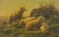 19th Century European:Landscape, JULIETTE PEYROL BONHEUR (French, 1830-1891). Untitled (Ram, TwoEwes, and a Lamb in a Windy Landscape). Oil on canvas. 4...