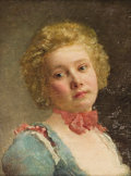 Fine Art - Painting, European:Antique  (Pre 1900), Manner of GUSTAVE JEAN JACQUET (French, 1846-1909). Portrait of a Young Girl . Oil on panel. 8-1/2 x 6-1/4 inches (21.6 ...
