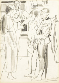 LAURA KNIGHT (British, 1877-1970) Between Acts: Backstage at the Royal Opera House... Graphite on pa