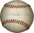Autographs:Baseballs, Walter Johnson Signed Baseball. During a aviation function held inMaryland during the early 1940's many notables, captains...