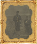 Photography:Tintypes, Sixth Plate Tintype of Two Union Soldiers on Beach....