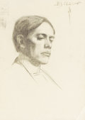 Fine Art - Painting, American:Modern  (1900 1949)  , BROR JULIUS OLSSON NORDFELDT (American, 1878-1955). Portrait ofa Man. Charcoal on laid paper. 24-1/2 x 18-3/4 inches (6...