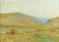 BRUCE CRANE (American, 1857-1937) Golden Hills Oil on canvas 14-1/4 x 20-1/4 inches (36.2 x 51.4