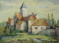 IRIS MICHELLE RAQUIN (French, b. 1933) Church in Normandy, 1953 Oil on canvas 21-1/2 x 29 inches