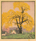 GUSTAVE BAUMANN (German/American, 1881-1971) The Landmark Woodcut print on paper 11-3/4 x 10-1/4