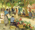 Fine Art - Painting, European, MARCEL DYF (French, 1899-1985). Flowers Market at Cannes.Oil on canvas. 16-3/4 x 21 inches (42.5 x 53.3 cm). Signed low...