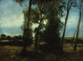 Fine Art - Painting, American:Modern  (1900 1949)  , CARLTON THEODORE CHAPMAN (American, 1860-1925). Trees at theShoreline. Oil on canvas. 18-1/4 x 24-1/4 inches (46.4 x 61...