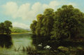 Fine Art - Painting, European:Antique  (Pre 1900), WILLIAM LANGLEY (British, 1852-1922). Swans on the River.Oil on canvas. 20 x 30 inches (50.8 x 76.2 cm). Signed lower l...