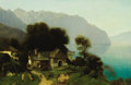 Fine Art - Painting, European:Antique  (Pre 1900), CONTINENTAL SCHOOL (19th Century). Cottage by the Lake. Oilon canvas. 22-3/4 x 34-1/4 inches (57.8 x 87.0 cm). ...
