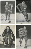 Hockey Collectibles:Others, Plante/Richard/Geoffrion/Harvey Single Signed Team Issued Postcards Lot of 4. Four members of the NHL Hall of Fame has adde...