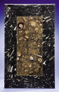 Lapidary Art:Tables / Tabletops, BI-COLORED FOSSILIFEROUS MARBLE TABLETOP. ...
