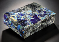LABRADORITE BOX WITH STRONG BLUE FLASH