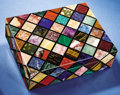 """Lapidary Art:Carvings, TESSELLATED """"DIAMOND"""" BOX - A RAINBOW OF NATURAL COLORS . ..."""