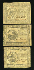 Colonial Notes:Continental Congress Issues, Continental Currency May 10, 1775 $6 XF, two small holes.Continental Currency November 29, 1775 $8 VF. Continental Curren...(Total: 3 notes)