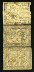 Colonial Notes:Continental Congress Issues, Continental Currency May 10, 1775 $30 About New, edge damage.Continental Currency November 29, 1775 $3 Fine, once mount...(Total: 3 notes)