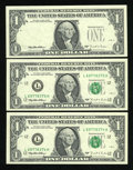 """Error Notes:Third Printing on Reverse, Fr. 1922-L $1 1995 Federal Reserve Notes. Third Printing on Back with """"Bookend"""" Notes. Choice About Uncirculated.. ... (Total: 3 notes)"""